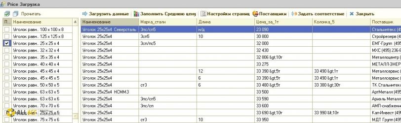Парсер анализа цен конкурентов на металлопрокат в 1С