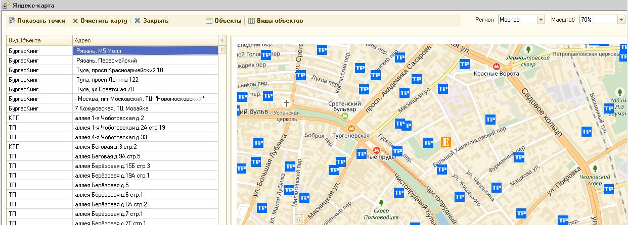 Яндекс карта : вывод точек на карту